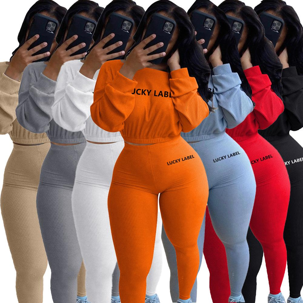 Autunno Inverno Donne 2 Tute pezzo solido di colore Cheating ricamo Maniche lunghe Rib Sport Suit Pullover sportivo signore casuali Outfits