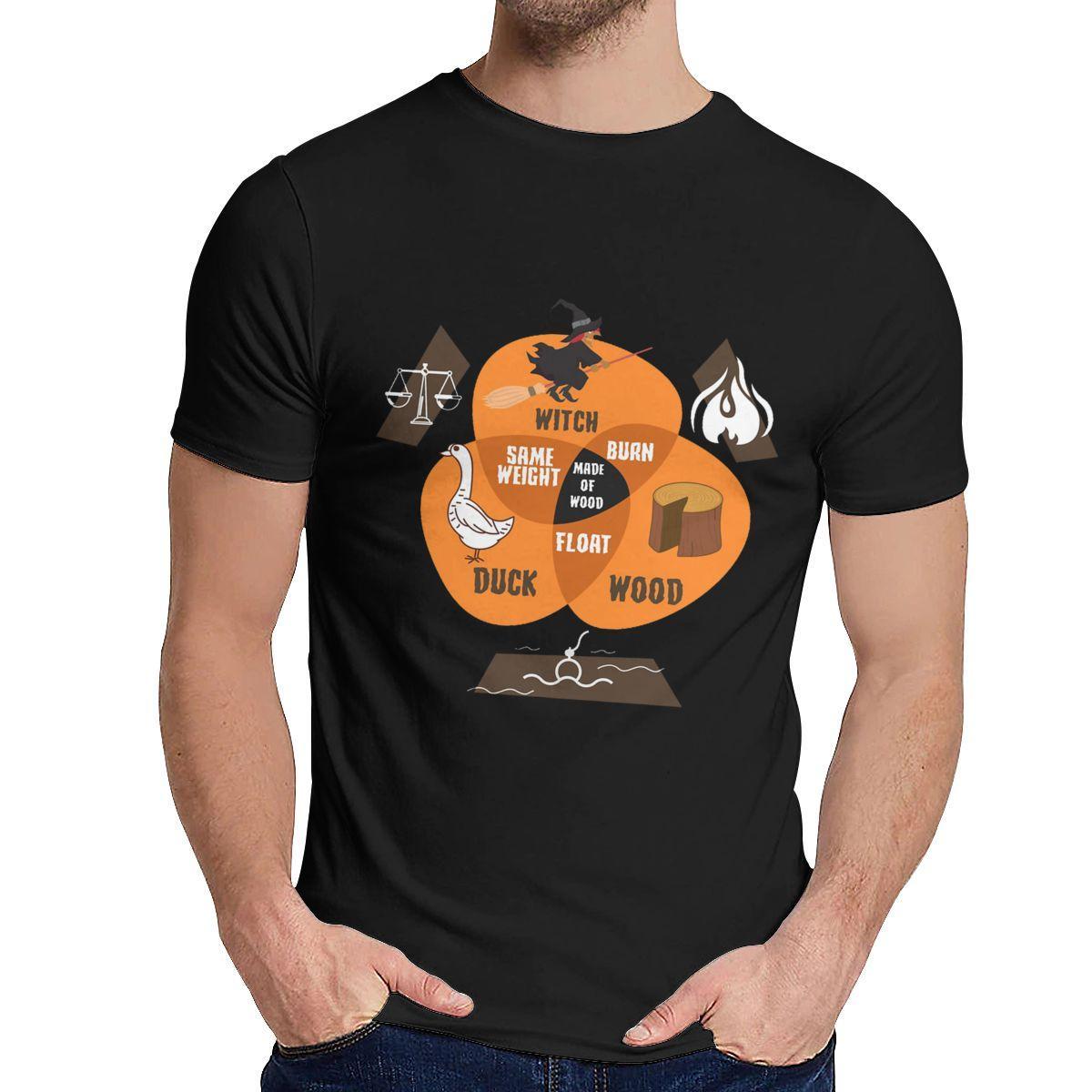 T-shirt dell'uomo Monty Python e il Sacro Graal Witch Wood Duck programmazione Nuovo collare rotondo Retro Tee Shirt
