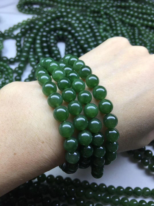 6gBm4 Doğal Hetian Jasper renk ıspanak yeşim sıcak güneş yuvarlak boncuklar büyük Emerald Green zümrüt Bilezik gre giyebilir kadın ve erkek bilezik