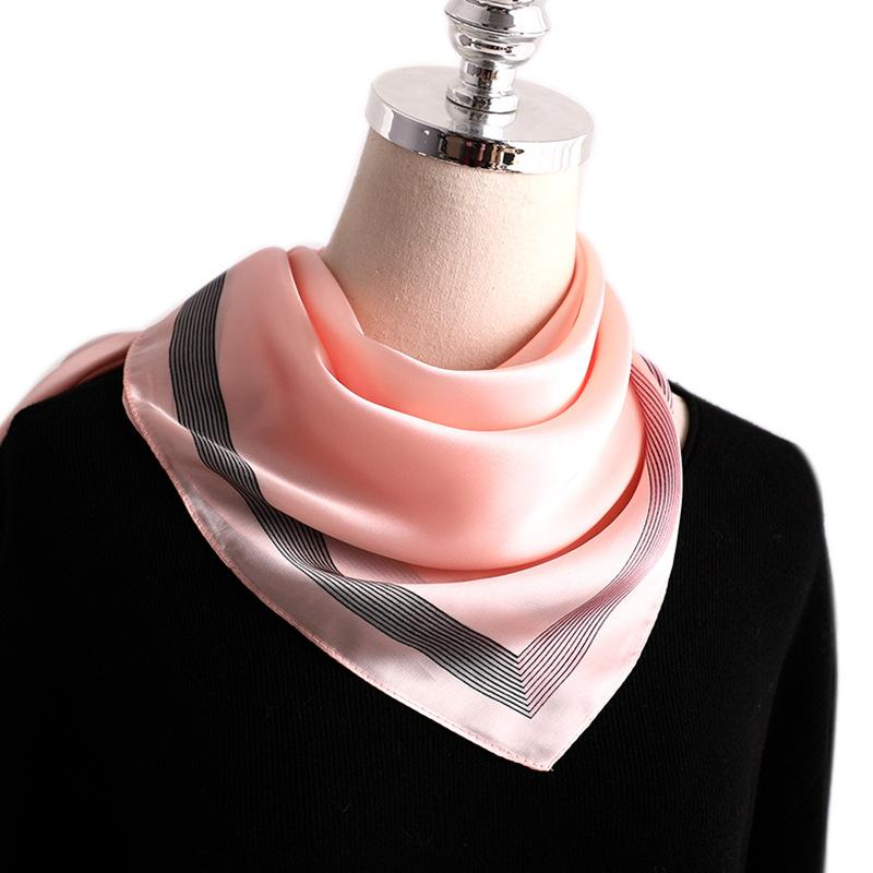 Fashion Solid Silk Hair Scarf For Women Small Shawls Satin Neck Scarfs Female 70cm*70cm Square Head Scarves For Ladies Pink Red