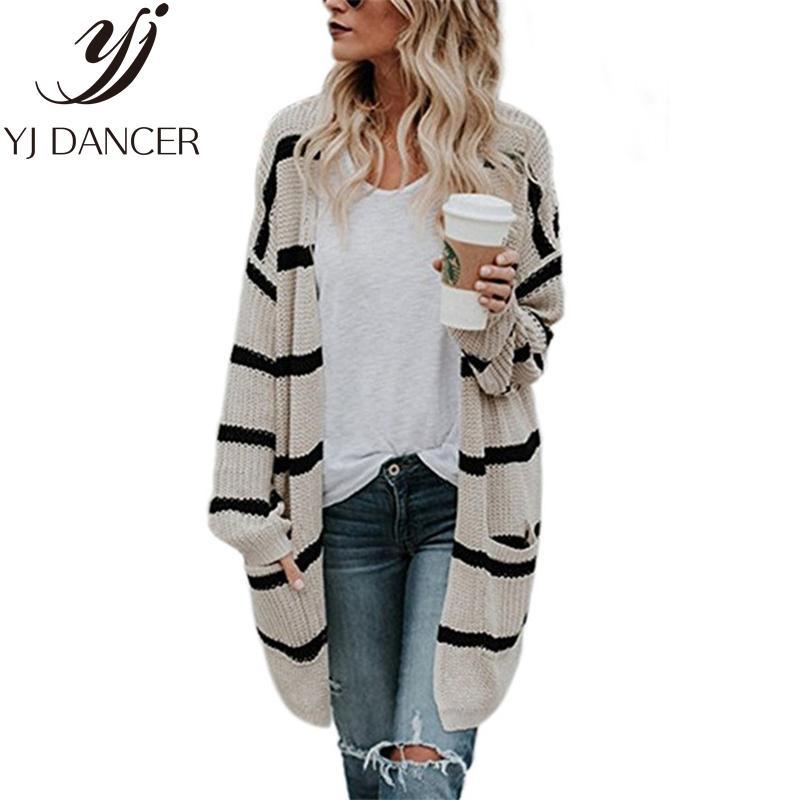 2020 가을 겨울 새로운 플러스 사이즈 패션 여성 레저 느슨한 크기 솔리드 컬러 스트라이프 카디건 스웨터 여성 코트 Ljj0103