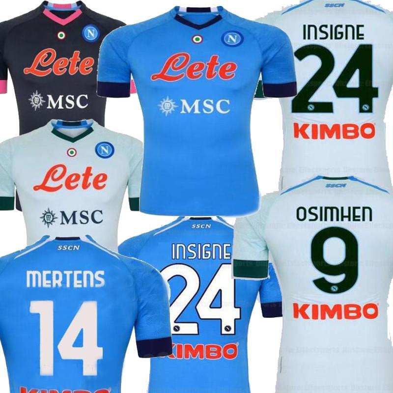 20 21 Napoli 블루 멀리 블랙 휘장 Mertens 남성 축구 유니폼 Koulibaly Milik H.Lozano Hamsik 나폴리 Camiseta de Fútbol 축구 셔츠 2021