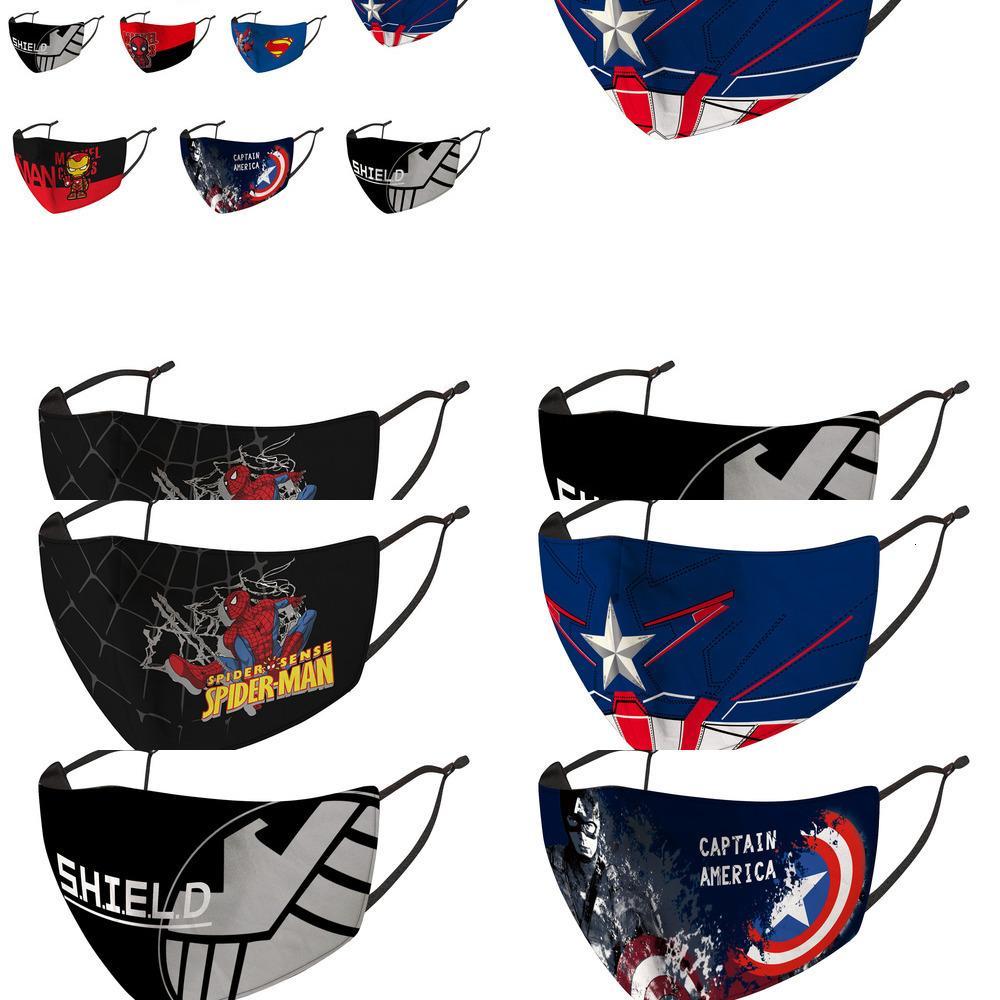 Máscara de Spider-man Ice infantil Silk desenhos animados Capitão América Dustproof Antifouling Primavera e Verão BJKZ