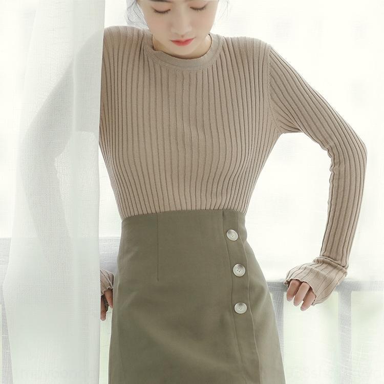 2020 осень Новый корейский стиль Ins вокруг шеи яму растянуть базовый Slim Fit рубашка с длинным рукавом трикотажный рубашки женской моды vsaby