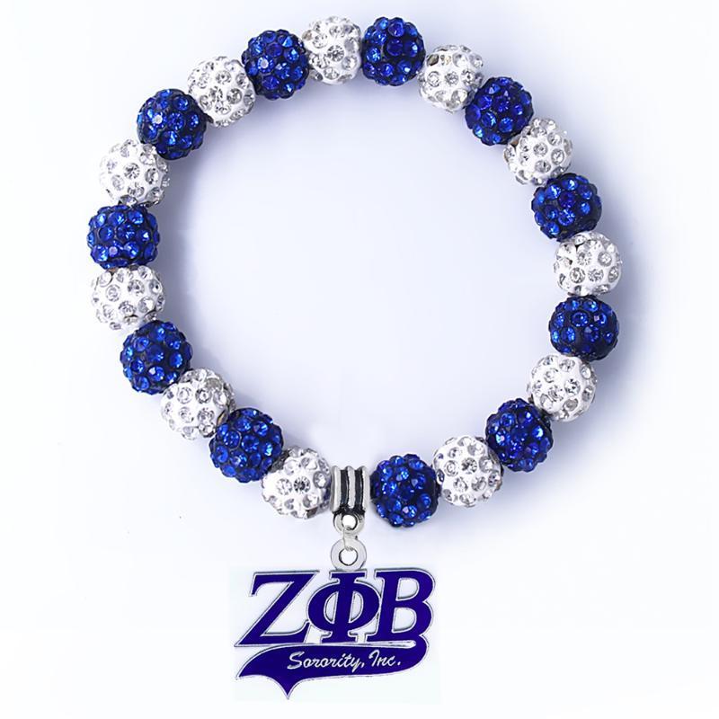 perles de nouvelle shampala couleur de la mode ZETA BETA PHI bracelet pendentif colombe lettre grecque société Bangle bijoux sororité