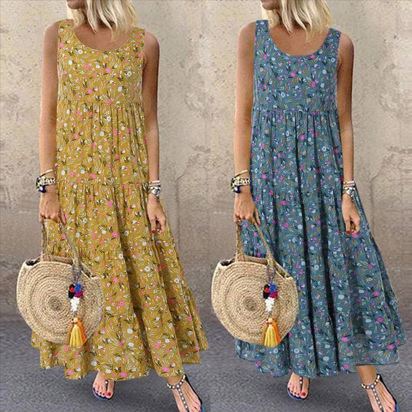 Summer Bohemian Beach Dress Plus Size M 5XL Women Fashion Casual Loose Sleeveless Floral Daily Print Long Cotton and Linen Dress