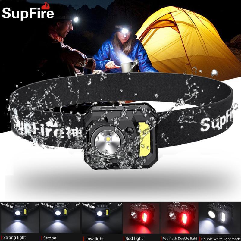 Supfire LED Energiespar Scheinwerfer Outdoor Sports Nacht Laufen Fahrradlampe Jagd Kopflampe Dual-Lichtquelle Scheinwerfer