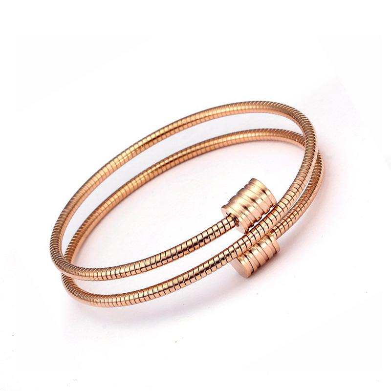 Men Women Charm Cuff Bangles Bracelets Simple Fashion Round Rose Gold Chain Link Wrap Bracelets Sporty Jewelry