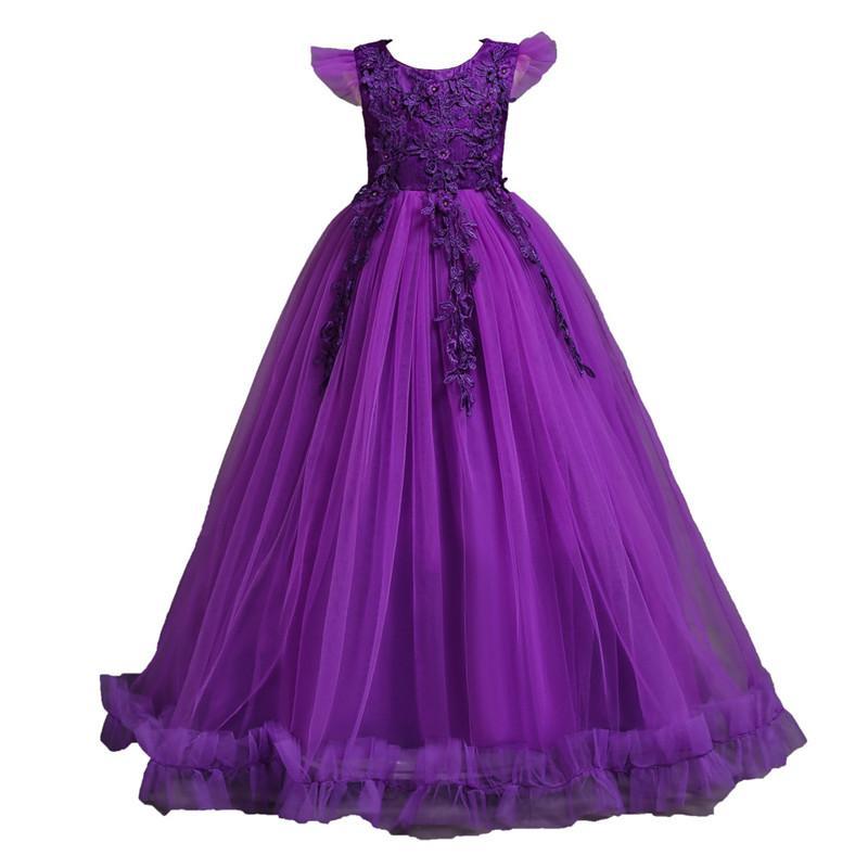 Платья Фортепианных Цветочниц Дня рождения Банкет Формальных дети платье малыши для девочек длинного вечернего платья принцессы Подростка Vestidos