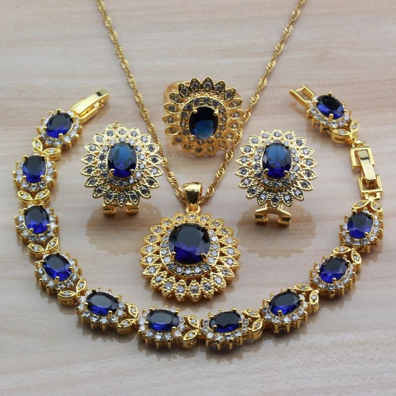 African oro giallo dei monili di cerimonia nuziale per le donne costume blu di moda zirconi Bracciale e set anello nuziale