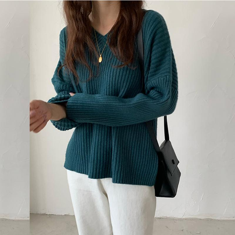 Zity cuello en V suéter de las mujeres 2020 Nueva Corea elegante sólido de la cachemira suéter flojo de gran tamaño caliente grueso Mujer Jerseys Tops
