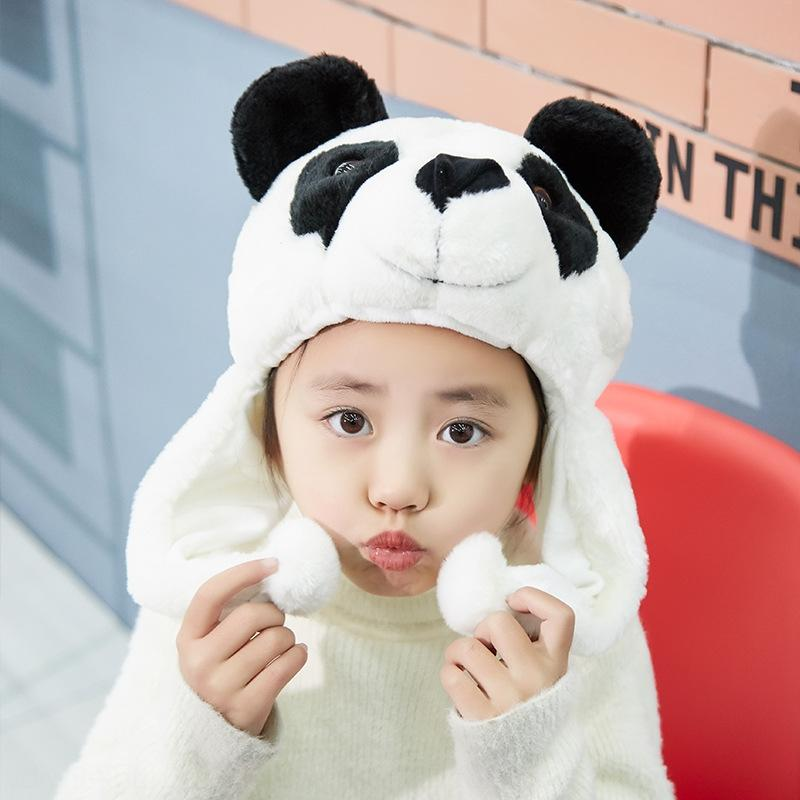 ULewp Cartoon Cartoon children's s winter panda hat adult children's parent-child activities Sichuan hat