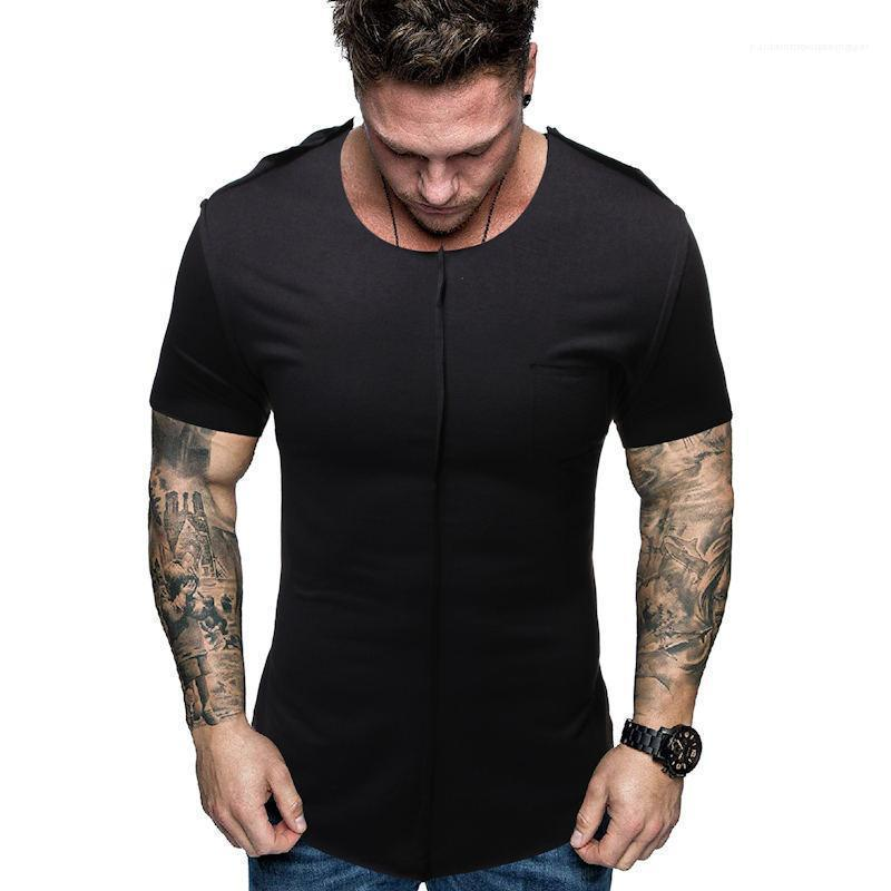 Ärmel Herren T-Shirts Casual Fashion Teenager Tops Täbler Massivfarbe Herren Designer T-shirt Slim atmungsaktiv kurz