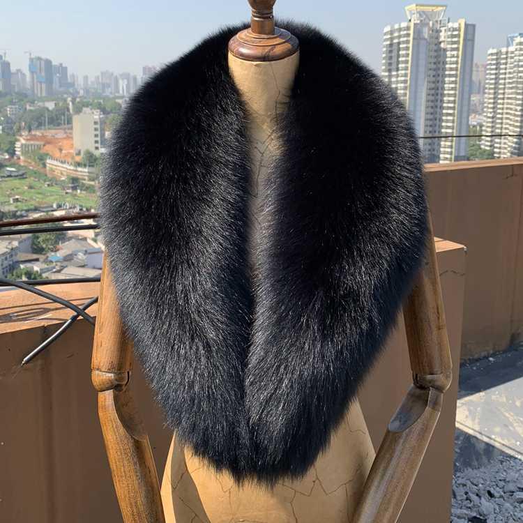 Echtes Echt Pelzkragen Schal Frauen Natürliche Schal Neck Warme Pelz Schalldämpfer Schwarz Große Schals Weibliche Wickel lange Schals