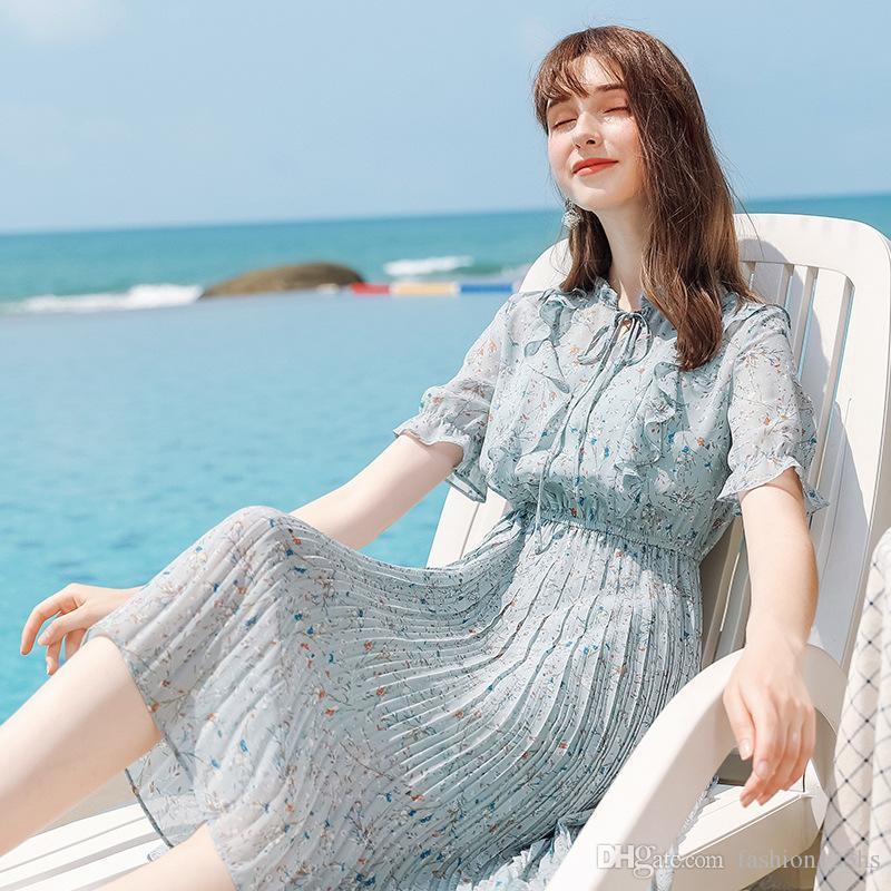 Baskılı Elbise 2020 yaz yeni V yaka Kısa Kollu fırfır kollu pileli etek mizaç ışık olgun şifon Etek