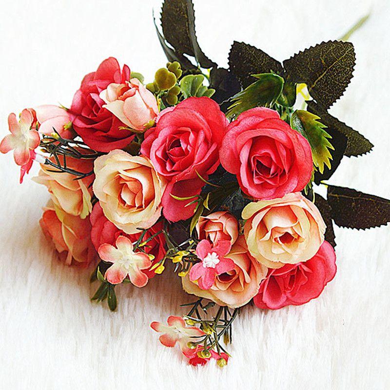 Kraliyet Lady Küçük Gül SH3 Yapay Çiçek Ev Dekorasyon 5adet Yapay Demet Çiçek Yerleştirilmiş