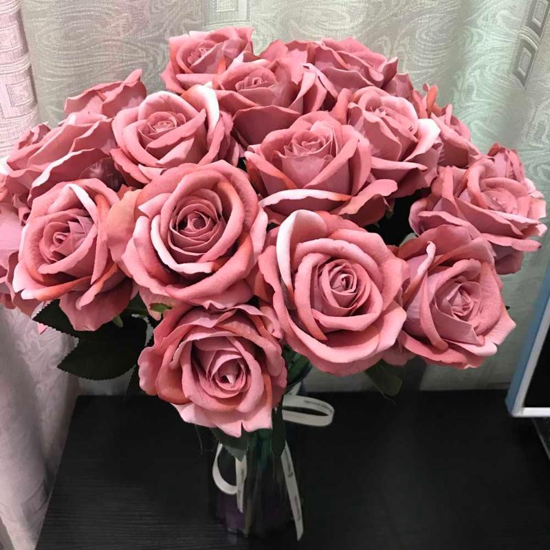 Decoración de la boda 50cm flor artificial de la franela del ramo de Rose Hotel Home arte plástico azul de las flores rosa blanco para la decoración de la tabla