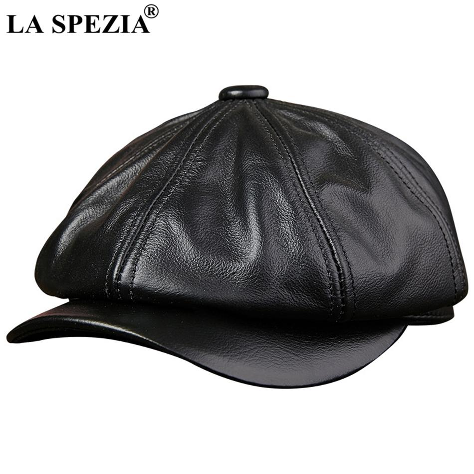 La Spezia Preto Newsboy Hats For Men Genuine Cowskin Leather Octagonal Cap Masculino Outono Inverno cabido Vintage Duckbill Chapéus Beret T200911