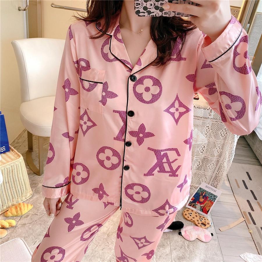 커플 잠옷 세트 여성 남성 실크 새틴 파자마 세트 커플 긴 소매 꽃 프린트 잠옷이지웨어 PJ 남여 잠옷 플러스 사이즈의 M-3 # 722
