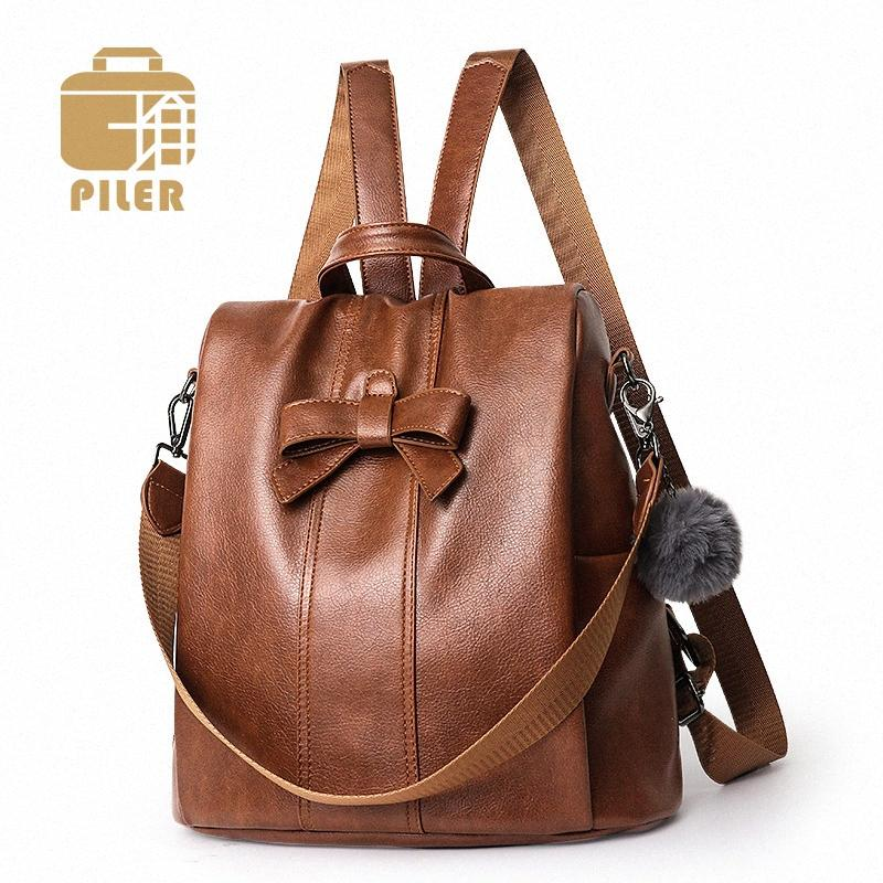 Ampliación de las mujeres del cuero Mochila antirrobo del cuero mochilas escolares para la mochila de la vendimia Adolescente señoras de las muchachas bolsas de viaje arco fJi2 #