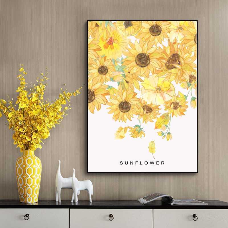 Girasole dipinto a mano Wall Art Poster E stampe su tela parete della pittura Immagini per il salone Nordic decorazione domestica
