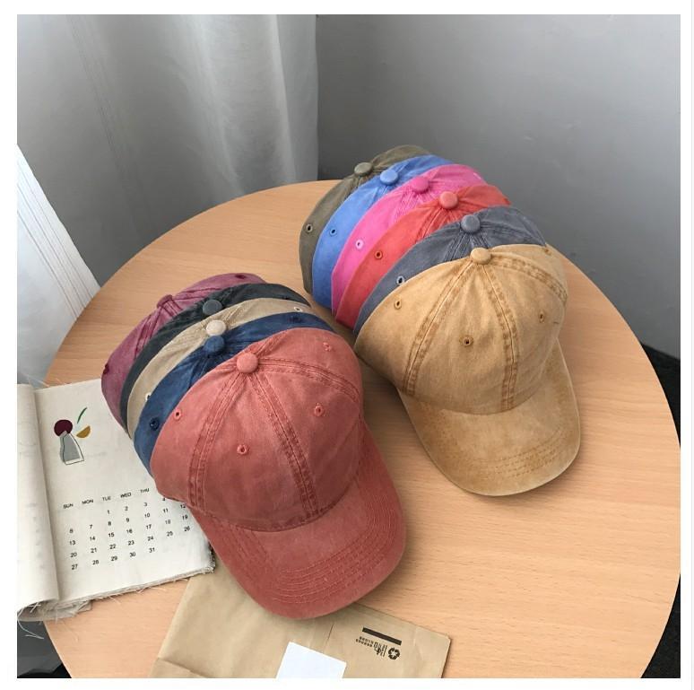 Sc8SP ins de style coréen lavé casquette de baseball de couleur solide panneau lumineux capbaseball correspondre tout loisir soleil ombrage été ÉLÈVE capchildren ca