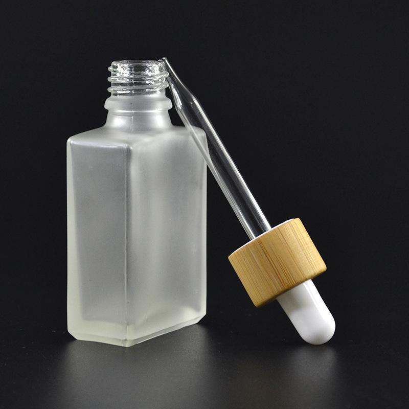 30ml Clear / givré goutte gouttons bouteilles de goutte liquide réactif réactif carrée carrée huile essentielle parfum bouteilles mouche huile e bouteille liquide bouteille bouchon de bambou