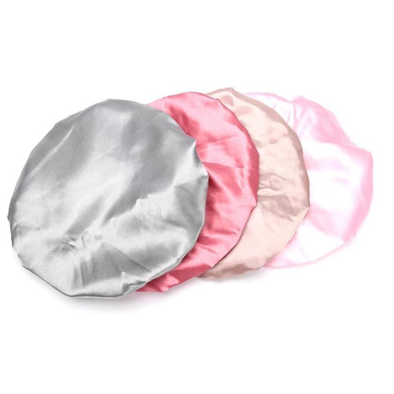 1pc encantador Mulheres Duche Cetim Chapéus coloridos do banho do chuveiro Caps cabelo capa dupla à prova de água de banho Cap Atacado