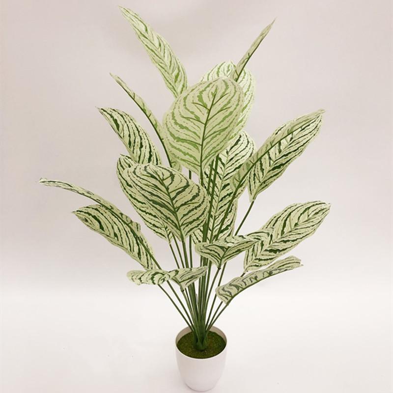 Fleurs décoratives Couronnes 80cm18 Têtes artificielles Grand palmier Thème tropical Thème tropical Fake Plante Vert intérieur Plancher Rare Pot Office