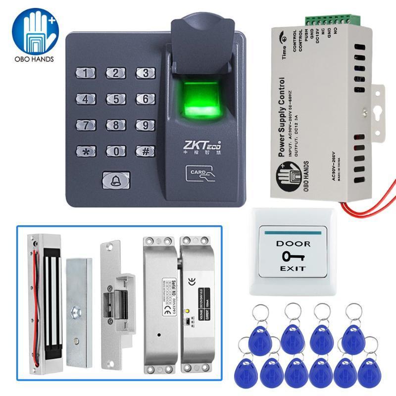Kit del sistema de control de acceso biométrico lector de huellas digitales con cerradura magnética Fuente de alimentación 12V CC con 10 llaves de control RFID para la entrada segura