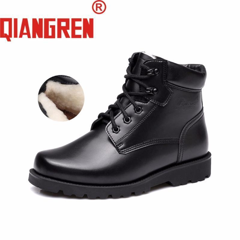 QIANGREN Fabrik-direct Herren Wolle Rubber Black Winter Schnee-Stiefel Männlich Im Freien Sicherheit warme Schuhe Tactical Botas Militar