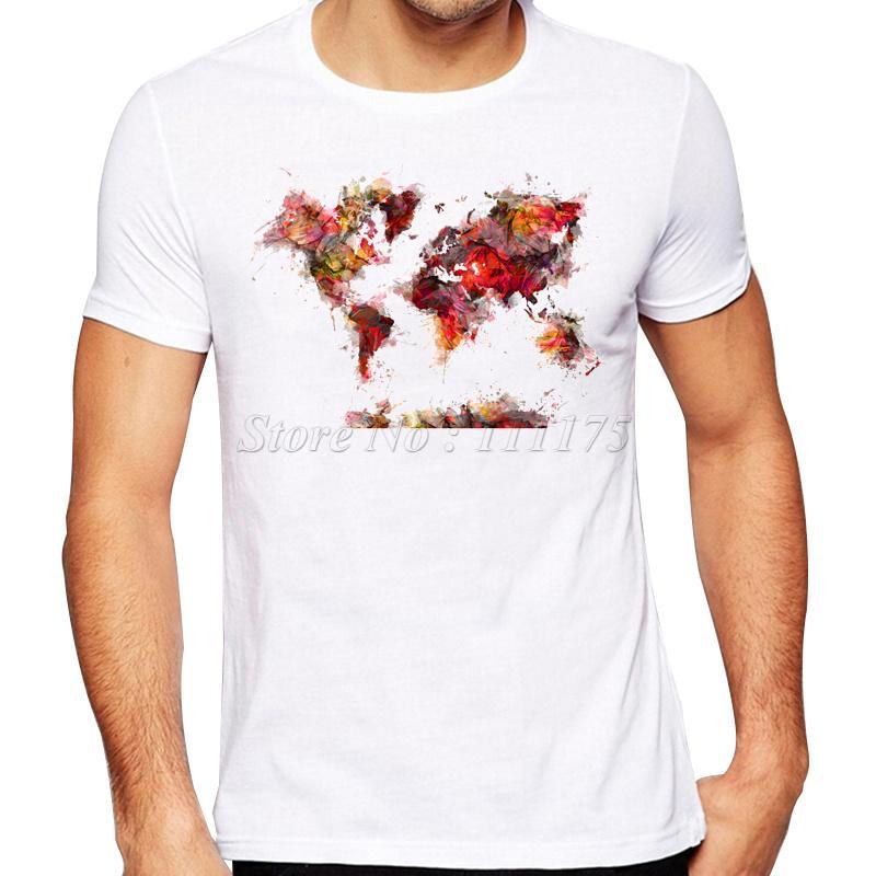 2019 Männer Sommer-Fashion Future Weltkarte Gedrucktes T-Shirt-Qualitäts-kühle Entwurfs-Spitzen Keds Hipster-T-Shirts