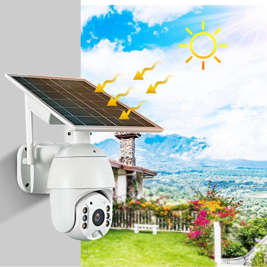 بالطاقة الشمسية IP WIFI كاميرا PTZ 1080P انخفاض استهلاك الطاقة سرعة لاسلكية قبة بطارية دعم الرؤية الليلية الملونة كما IPTZ816SP