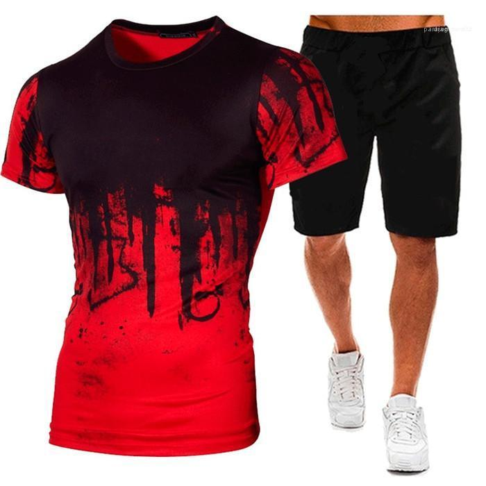 Los juegos del cortocircuito del hombre del deporte aptitud de la manera Establece O-cuello diseñador de los hombres 2PCS 4XL chándales para hombre de las camisetas de verano Con longitud de la rodilla