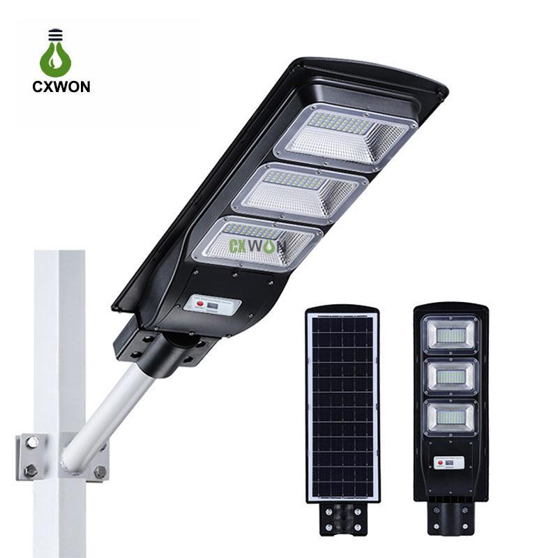 Lampe de rue solaire intégrée 30W 60W 90W Capteur de mouvement Radar Éclairage extérieur Timing + Télécommande IP67 ÉMERAUX ÉMERAUX ÉMERAULLE MURAUX POUR LA PLAZA YARD