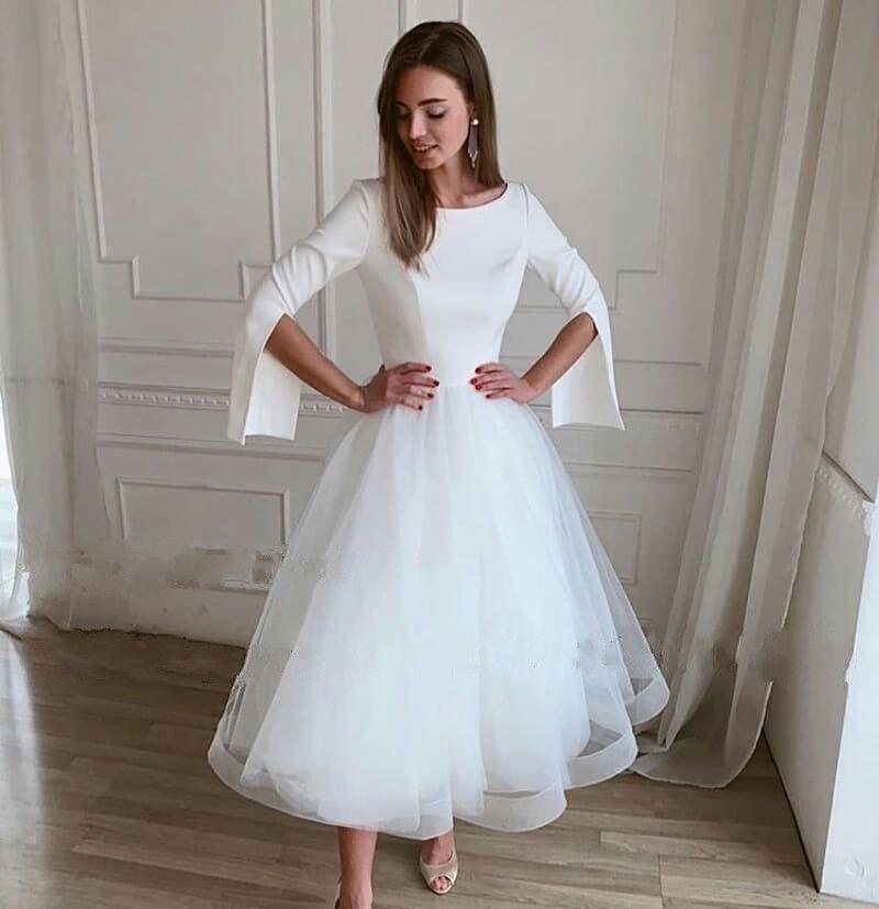 Elegante una línea vestidos de boda de la joya del cuello de manga larga de los vestidos de novia de longitud de té de tul vestido de novia por encargo