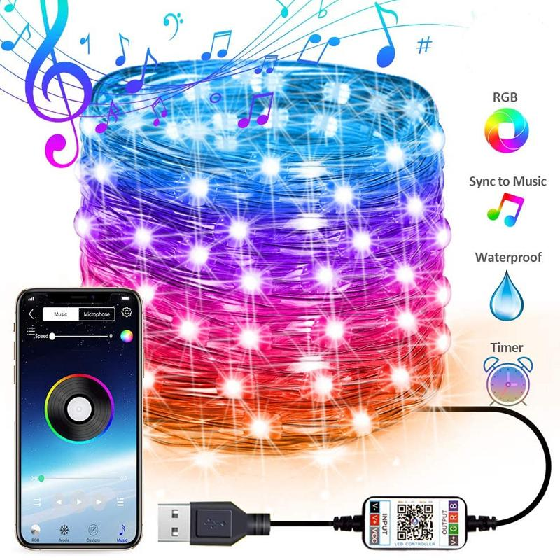 USB 요정 문자열 조명 음악 동기화 색 RGB LED 스트립 블루투스 APP 제어 구리 와이어 문자열 크리스마스 파티 결혼식 야외 장식