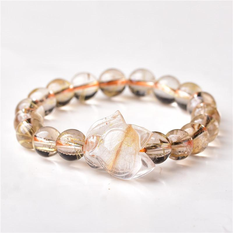 Wholesale Ghost Natural Stone Bracelets Gold Hair Crystal With Energy Stone Hand Row Lucky for Women Men Crystal Jewelry