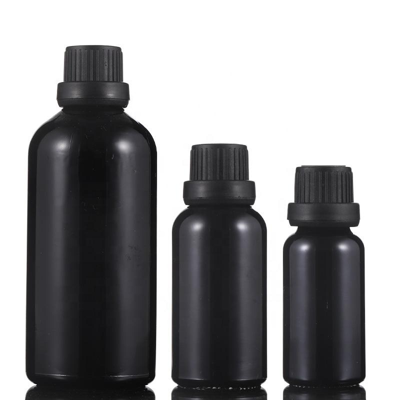 Heiße Verkaufs-Schwarz glänzend Glas Tropfflaschen für Ätherisches Öl E Flüssiges 5-100ml Mit Tamper Lids