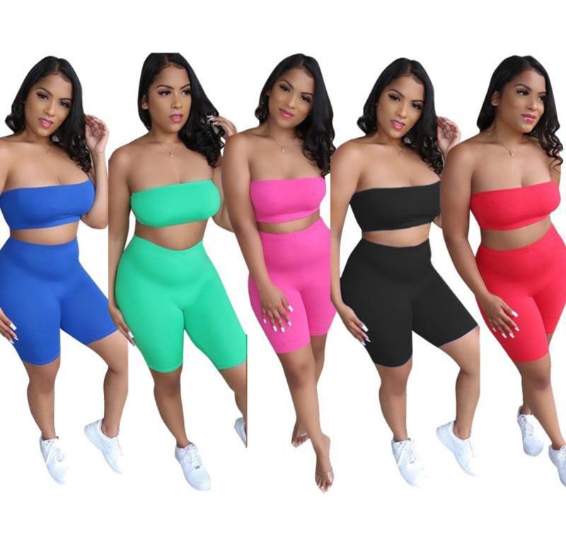 Designer Mulheres Streetwear Ultra Strapty Strapless Tracksuits Crop Top Skinny Slim Dois Peça Shorts Sexy 2pcs Sportswear roupas casuais