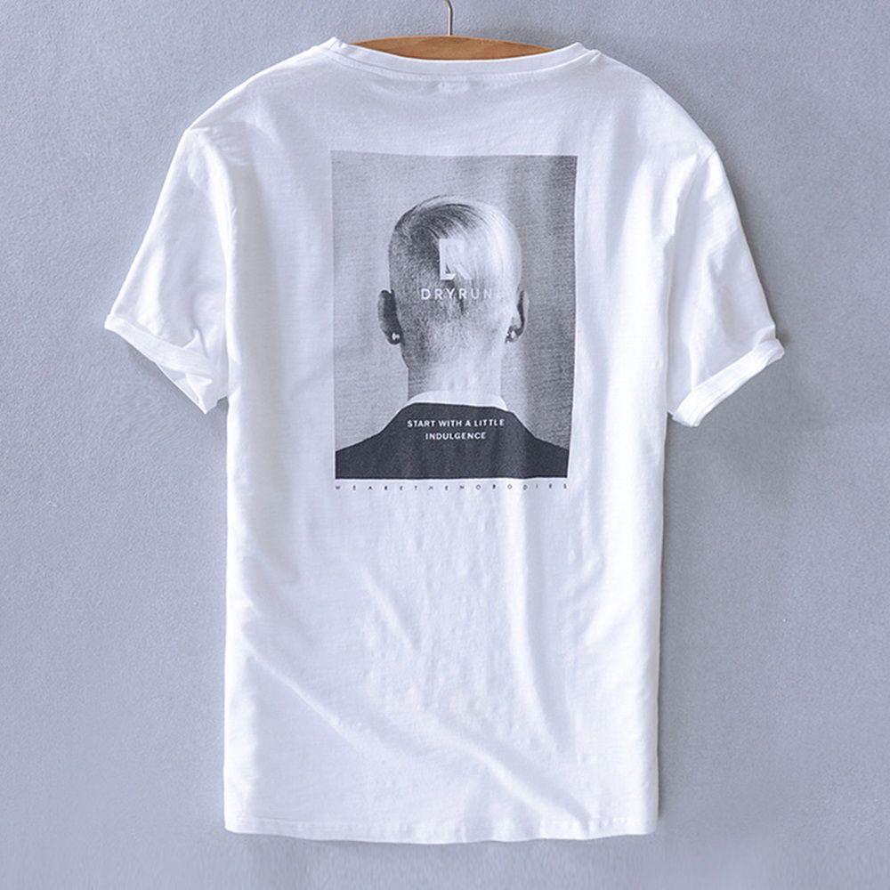 European And American Men'S Printed Linen Short Sleeve T-Shirt Art Fan Cotton Hemp Leisure Half-Sleeve T-Shirt