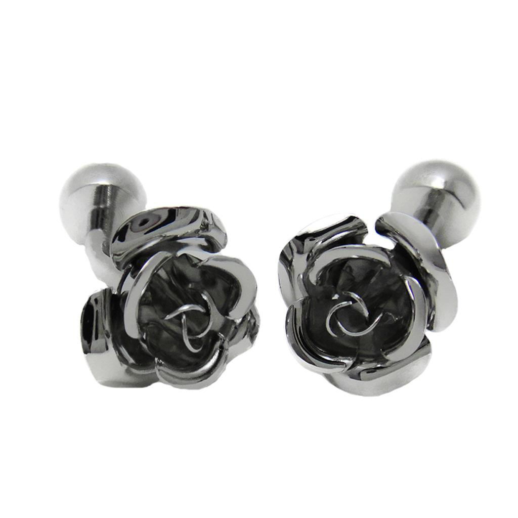 Antique Silver Brass Rose Flower Cufflinks French Shirt Men Party Jewelry