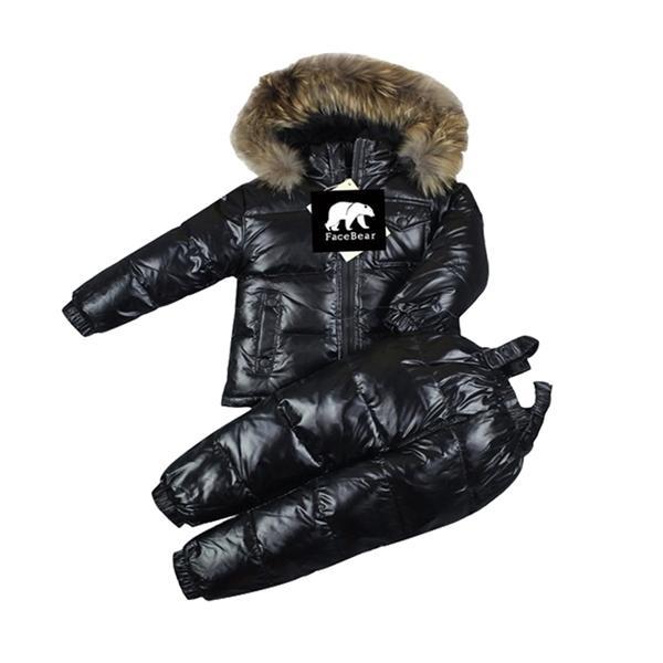 -30 Rusia de invierno ropa de los niños del 90% pato abajo de bebé sistemas de la ropa de la chaqueta + pantalones abajo Niños trajes para la nieve de los niños rojos hacia abajo al aire libre 0926
