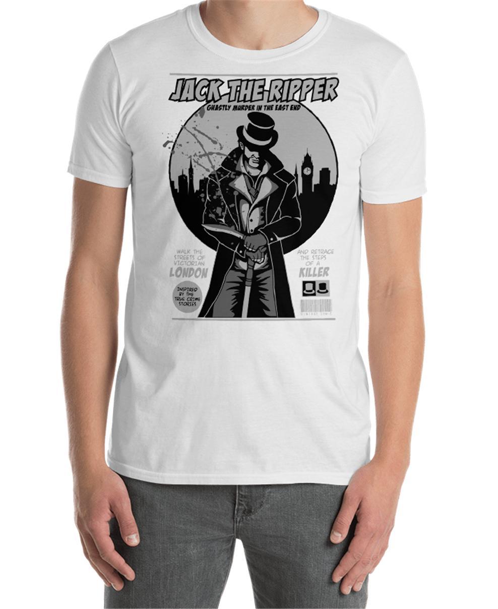 Джек Потрошитель Серийный убийца Vintage 19 века Лондон Унисекс футболка Рубашка подарков Смешной Tee Shirt