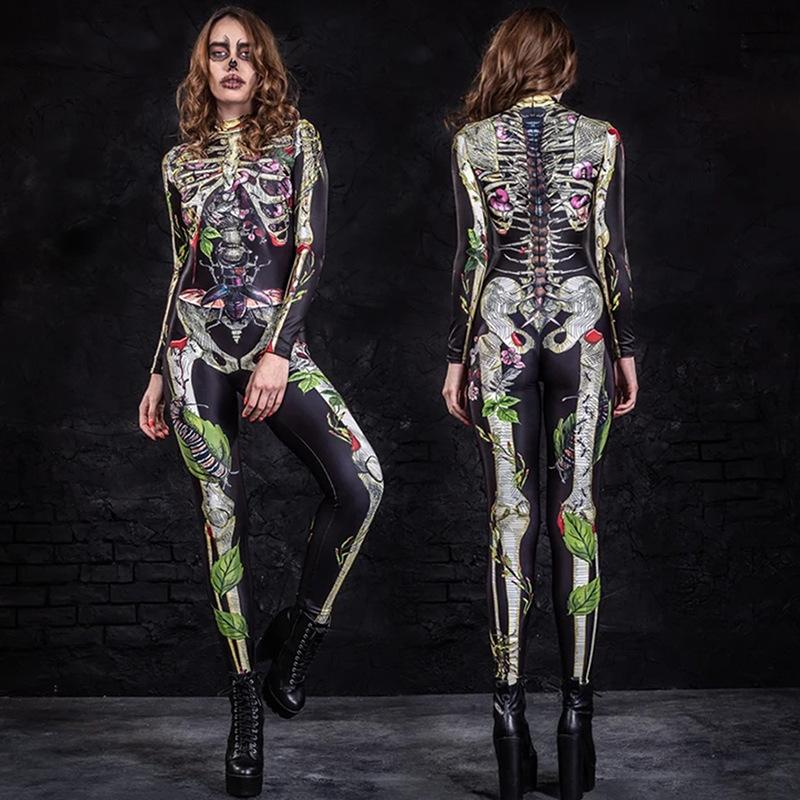 2020 New Wanshengjie Costume Ball Scary Body Skeleton Tight Jumpsuit Backless Pants Womens Playsuits Pattern Jumpsuit Skinny Romper 209
