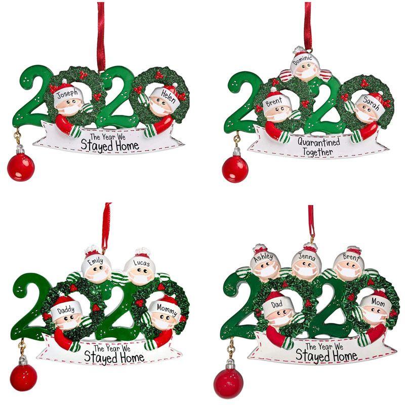 2020 quarantaine Ornement de Noël d'arbre de Noël décoration pendants de famille Cadeau d'ornement avec de la résine Party haute qualité de cadeau
