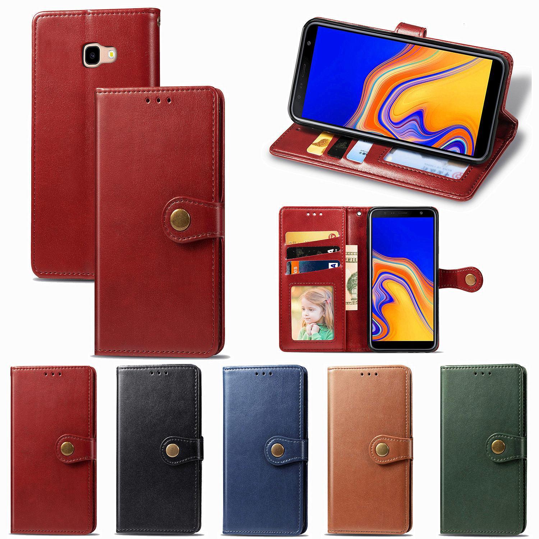 Telefon-Kästen für Samsung-J4-Plus Einfacher Geschäfts-Art-PU-Leder glatte Oberfläche Abdeckung Kartensteckplatz Flip Magnetverschluss (Modell: J4PLUS / J4 +)