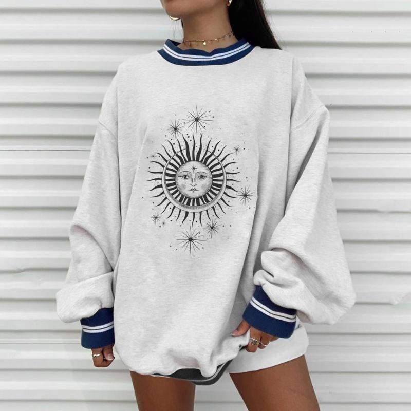 بالاضافة الى حجم خريف وشتاء شمس نجم Sweatershirts النسائية عارضة فضفاض تي شيرت لطيف Youg بنات هوديس ملابس النساء رمادي كبير جدا