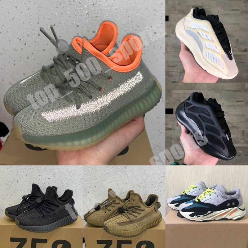 New Baby Kids Shoes Kanye West V2 Wave Runner 700 V3 Running Shoes Girl Boy Toddler Trainer Sneakers Children Athletic Shoes Black Grey