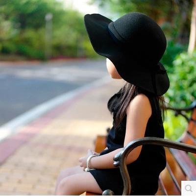 0ZWhx britannique vague cap corniche enfants chapeau de laine corniche grand bord tresse chapeau de laine décorative grand chapeau ras bord